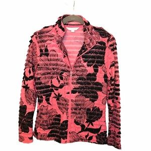 Erin London Pink and Black Tropical Floral Jacket